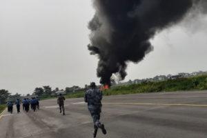 बिराटनगरमा हवाई दुर्घटनाको पूर्व अभ्यास : एयरपोर्ट भित्र जहाजमा आगो दन्किदा त्रास